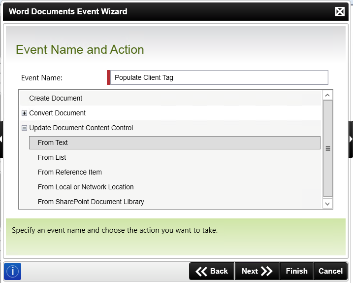 The Event Name and Action panel of the Word Document Event Wizard. The selected action is to update a document content control from text.