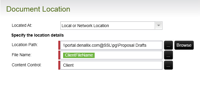 The Document Location panel of the Word Document Event Wizard. The location path is a network address that points to the target SharePoint 2013 library.