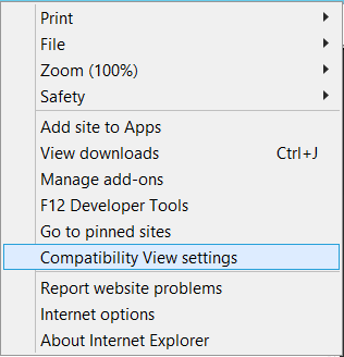 "Select ""Compatibility View Settings"" from the Tools Menu in IE 11."