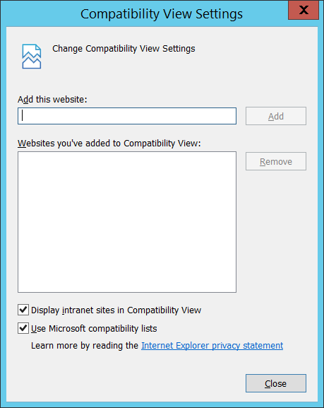 The Compatibility View Settings Dialog. Add your workspace to the list of sites.
