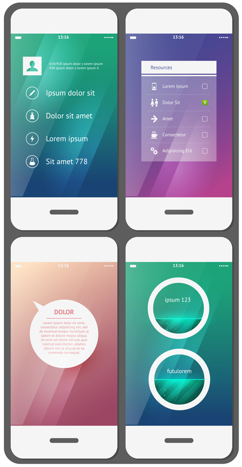 Examples of 4 mobile User Interface