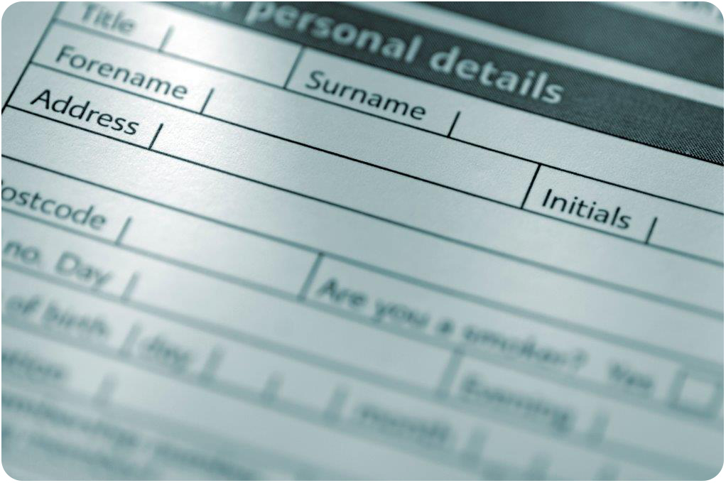 Blank form of personal information