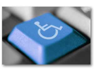 Blue Accessibility Icon on a Standard Keyboard as an Accessibility Key