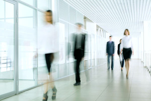 Business people walking in a hallway