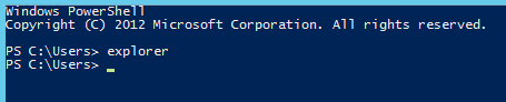 Use the 'explorer' command to open a Windows Explorer window from the Windows PowerShell prompt